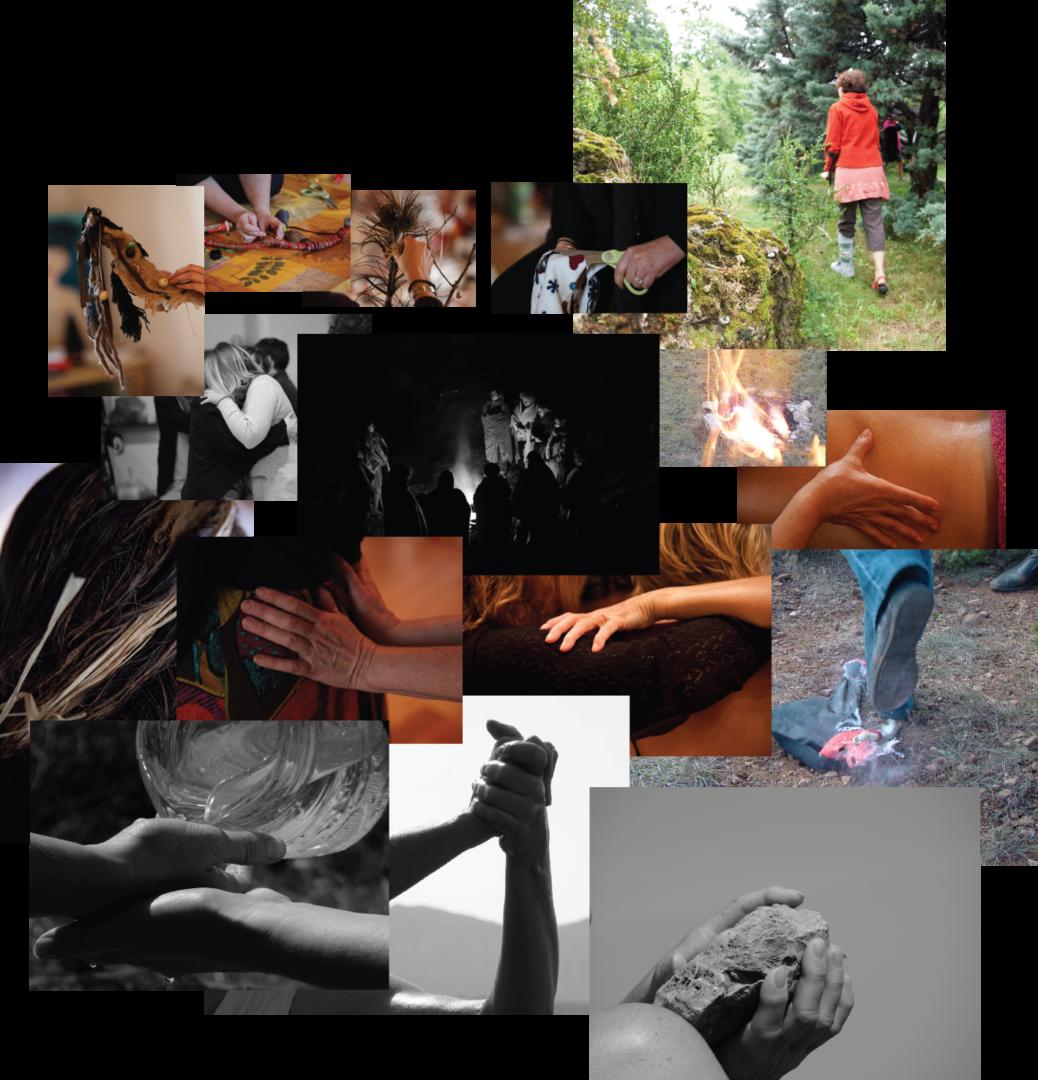 Photos de femmes prises pendant les groupes de psychothérapie et les stage